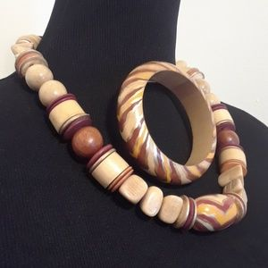 Jewelry - 50% OFF Earth Tone Wooden Necklace Bracelet Set